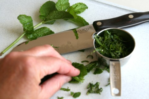 Chopping mint