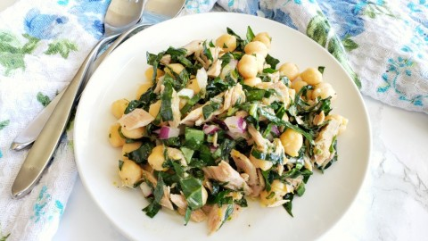 Lemony Garbanzo Kale Salad with Tuna: Light, lemony, packed with protein and nutritious kale, this is a main-dish salad that satisfies for dinner or lunch the next day, if you have leftovers.