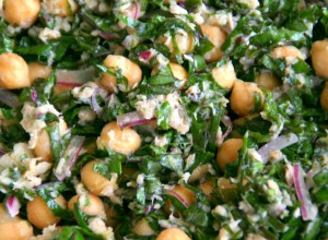 Lemony Garbanzo Kale Salad with Tuna from ShockinglyDelicious.com