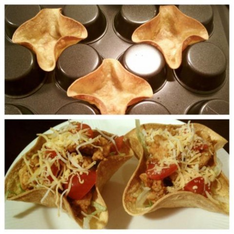 Taco bowls on muffin pans