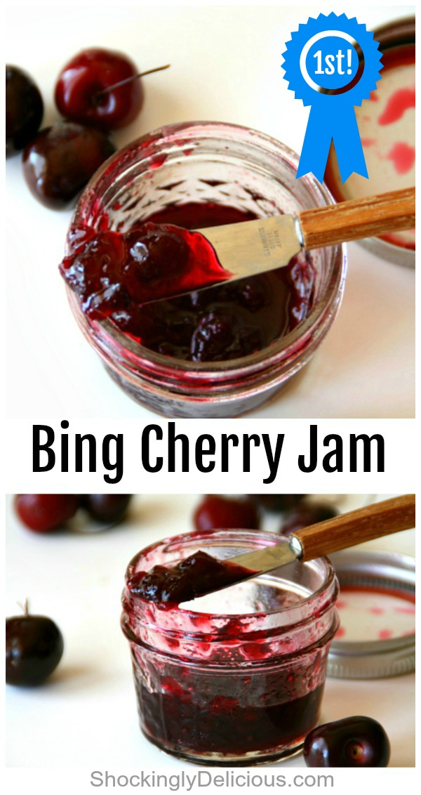 Jars of Blue Ribbon Bing Cherry Jam on a white counter