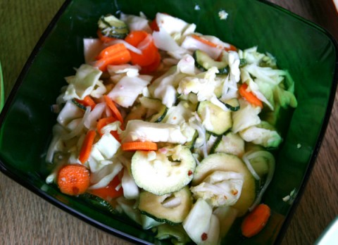 Vietnamese Style Hot Pickled Zucchini, Cabbage and Carrot Salad from Men Who Like to Cook