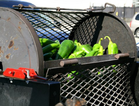 Hatch chiles roasting at Melissa's Produce