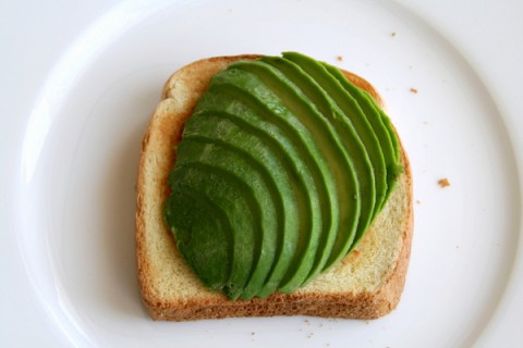 Avocado slices on toast