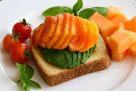 Open-Faced Avocado and Peach Toast