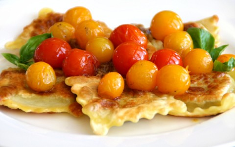 Crispy Ravioli in Cherry Tomato Sauce on ShockinglyDelicious.com