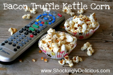 Bacon Truffle Kettle Corn is perfect snack on Shockingly Delicious.