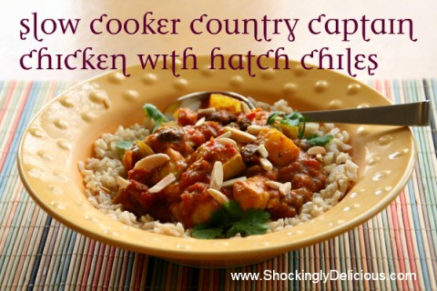Slow Cooker Country Captain Chicken with Hatch Chiles. Recipe here:https://www.shockinglydelicious.com/slow-cooker-country-captain-chicken-with-hatch-chiles/