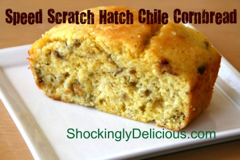 Speed Scratch Hatch Chile Cornbread on ShockinglyDelicious.com