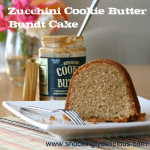 Zucchini Cookie Butter Bundt Cake on Shockingly Delicious. Recipe: https://www.shockinglydelicious.com/zucchini-cookie-butter-bundt-cake-for-bundtamonth/