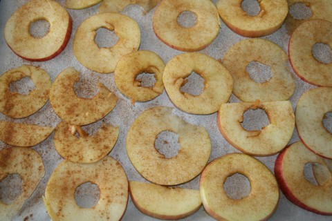 Cinnamon Apple Chips ready to bake