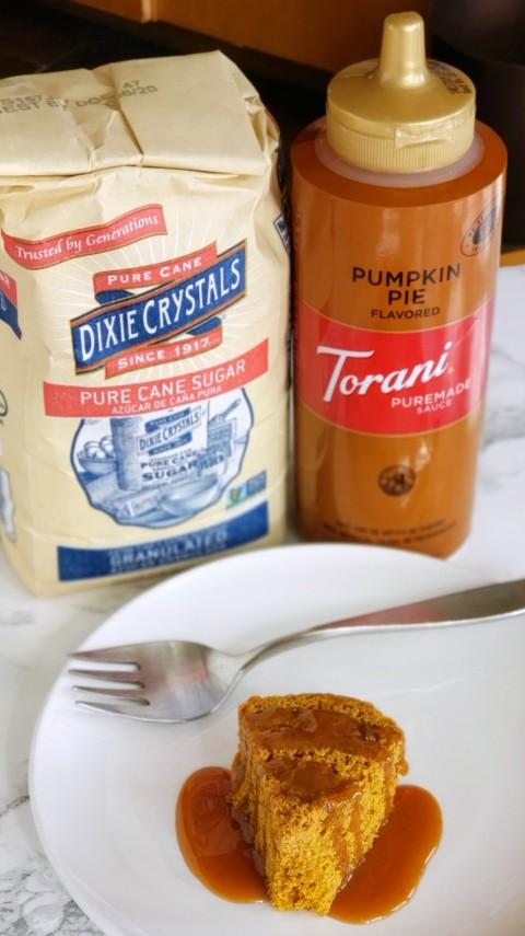 Dixie Crystals sugar and Torani Pumpin Pie Sauce