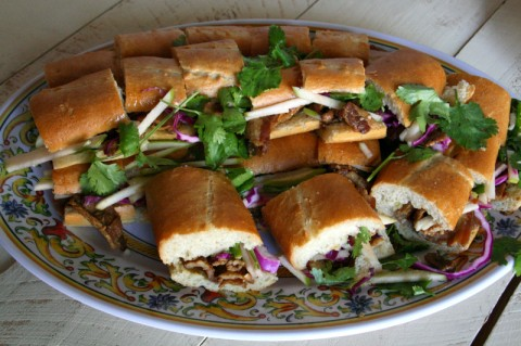 Bahn Mi (sandwich) with Braised Pork Belly with Garlic Confit, Tart Green Apple and Crunchy Red Cabbage
