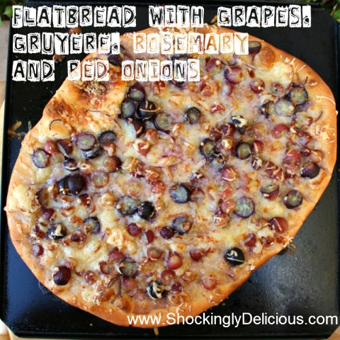 Flatbread with Grapes, Gruyere, Rosemary and Red Onions on Shockingly Delicious. Recipe here: http://www.shockinglydelicious.com/?p=9713