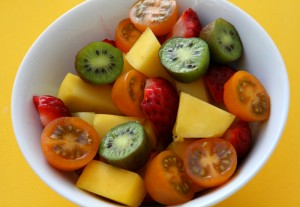 Fruit Salad with Tomatoes closeup on ShockinglyDelicious