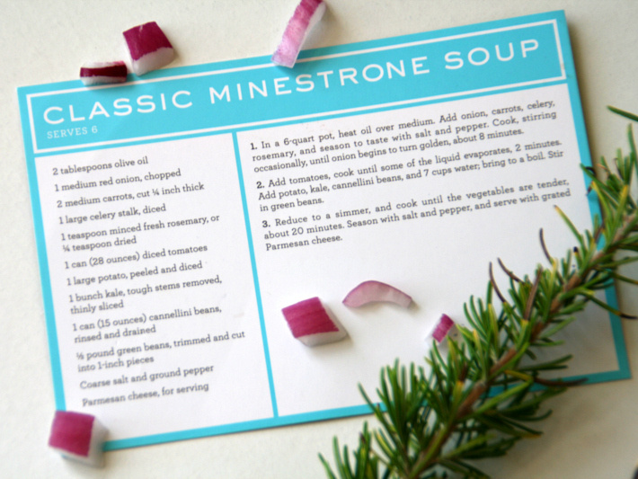 Making Minestrone Soup Collage Martha Stewart Minestrone Soup Recipe Card