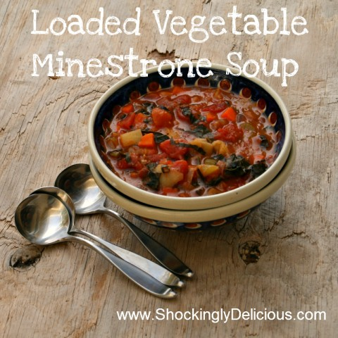 Loaded Vegetable Minestrone Soup on ShockinglyDelicious. Recipe here: https://www.shockinglydelicious.com/?p=9775
