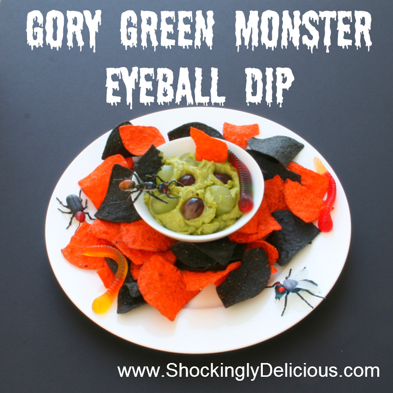 gory green monster eyeball dip on shockinglydeliciouscom recipe here http - Gory Halloween Food Ideas