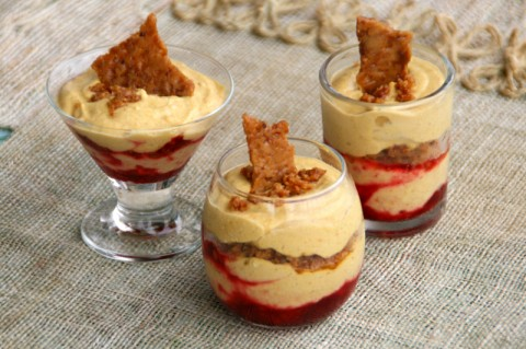 Pumpkin Mousse with Toffee Crunch and Cran-Raspberry Sauce