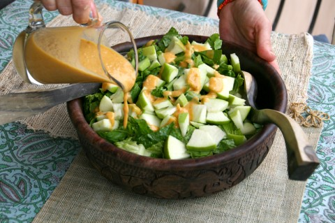 Romaine and Green Apple Salad with Creamy Pumpkin Dressing