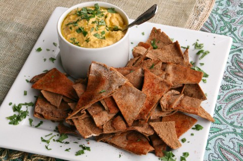 Pumpkin Hummus with Spiced Baked Whole Wheat Pita Chips