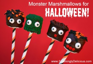 Monster Marshmallows for Halloween! Recipe here: http://www.shockinglydelicious.com/?p=10059