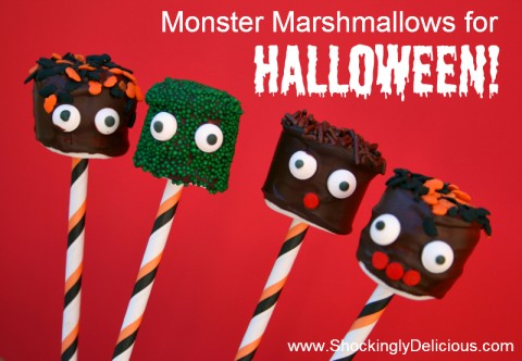 Monster Marshmallows for Halloween! Recipe on ShockinglyDelicious.com