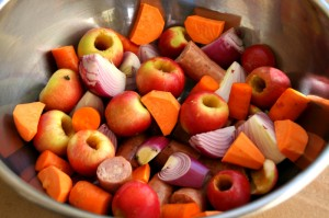 Roots and Fruits in a mixing bowl