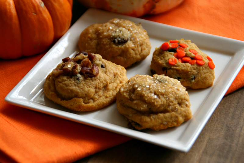 Pumpkin Chocolate Chip Cookies on ShockinglyDelicious.com