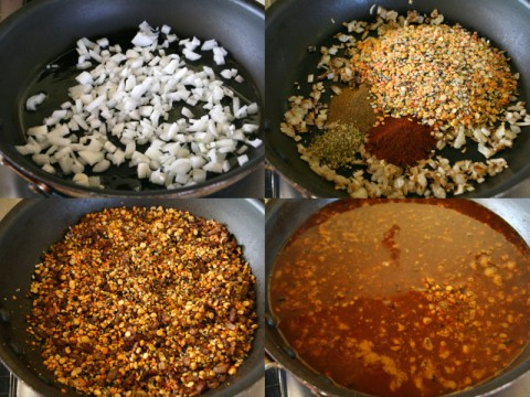 Lentil taco cooking process