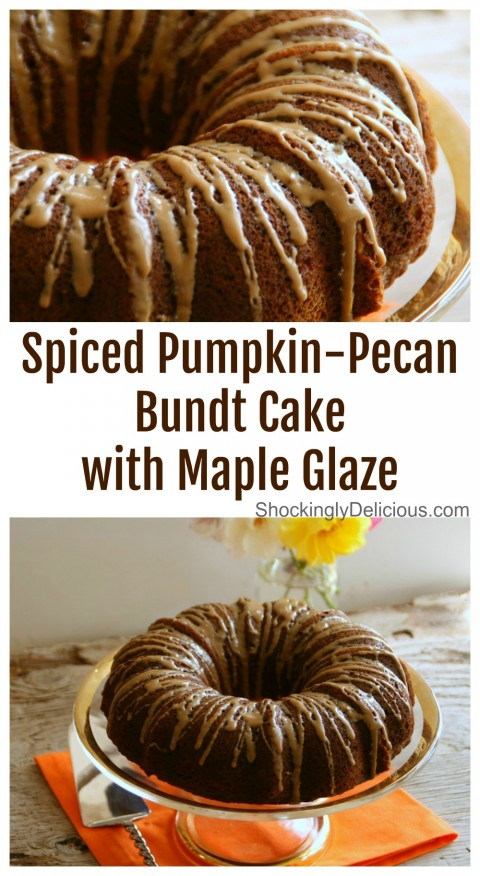 Recipe for Spiced Pumpkin-Pecan Bundt Cake with Maple Glaze on ShockinglyDelicious.com