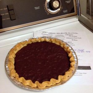 pie cooling on washing machine -- Malibu Pie Contest 2012