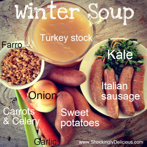 Sweet Potato, Sausage, Kale and Farro Soup. Recipe here: https://www.shockinglydelicious.com/?p=10558