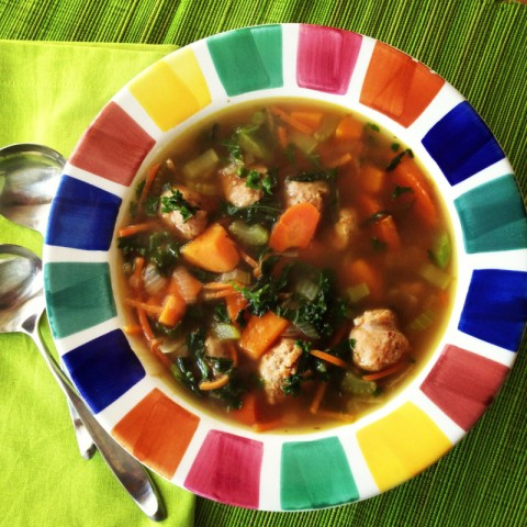 Sweet Potato, Sausage, Kale and Farro Soup. Recipe here: http://www.shockinglydelicious.com/?p=10558