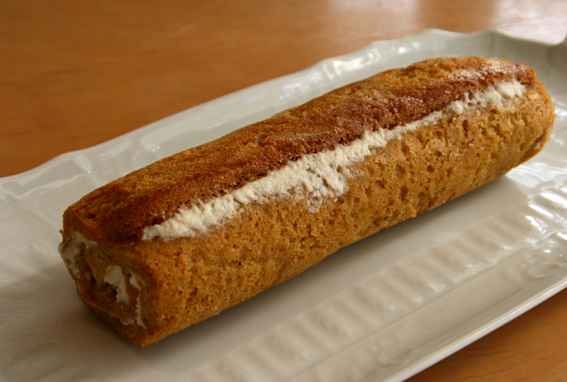 Pumpkin Cake Roll on ShockinglyDelicious. Recipe here: https://www.shockinglydelicious.com/?p=10246