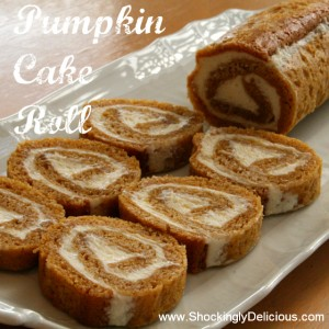 Pumpkin Cake Roll on ShockinglyDelicious. Recipe here: http://www.shockinglydelicious.com/?p=10246