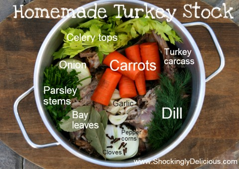 Homemade Turkey Stock graphic. Recipe here: https://www.shockinglydelicious.com/?p=10524