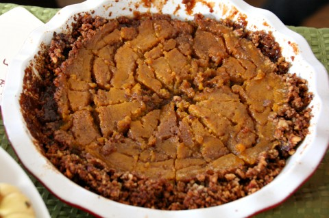 Pecan Crusted Salted Spiced Caramel Pumpkin Pie