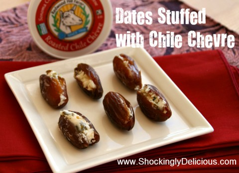 Dates Stuffed with Chile Chevre. Recipe here: http://www.shockinglydelicious.com/?p=10482