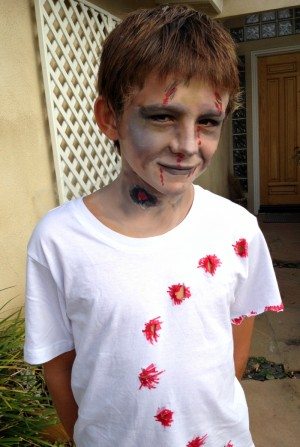 Zombie surfer with a shark bite