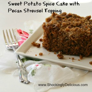 Sweet Potato Spice Cake with Pecan Streusel Topping. Recipe here: https://www.shockinglydelicious.com/?p=10330
