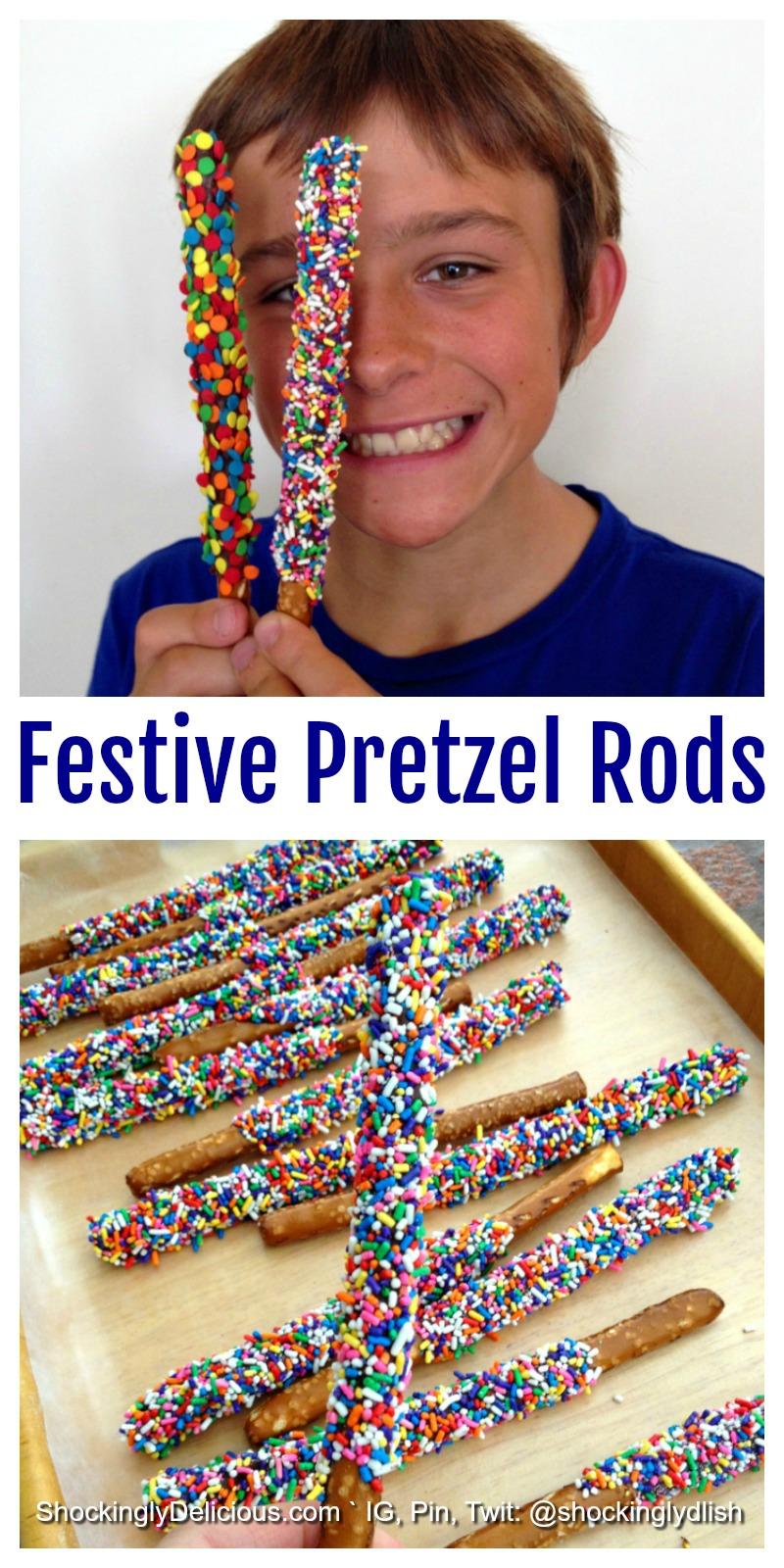 Festive Pretzel Rods Recipe on ShockinglyDelicious.com