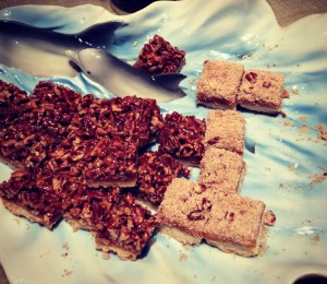 Pecan Pie Bars on Dolphin platter with Rosemary Apricot Bars. Recipe here: http://www.shockinglydelicious.com/?p=10780