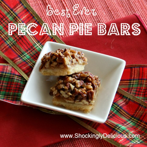 Best Ever Pecan Pie Bars. Recipe is here: http://www.shockinglydelicious.com/?p=10780
