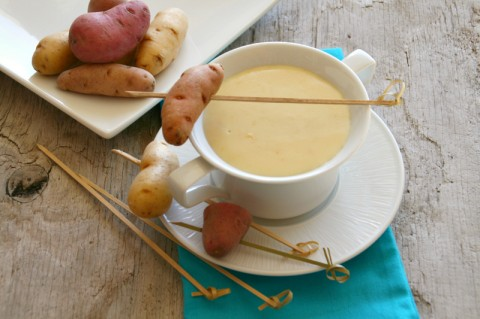 Fingerling Potatoes and Fondue. Recipe here: http://www.shockinglydelicious.com/?p=11008