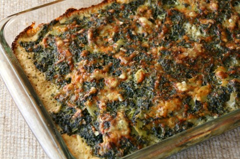 Spinach Gruyere Potato Gratin out of the oven. Recipe here:  https://www.shockinglydelicious.com/?p=10960