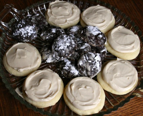 Butter Cookies with Beer and Brown Sugar Buttercream, and Chocolate Stout Crinkles