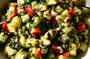 New Year's Hoppin' John Potato Salad. Recipe here: http://www.shockinglydelicious.com/?p=10840