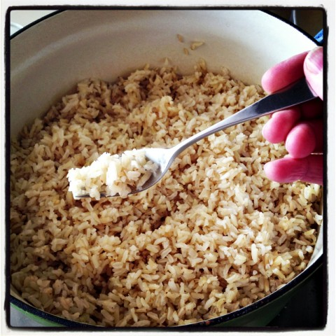 Perfect Brown Rice in the Oven on Shockingly Delicious. Recipe here: https://www.shockinglydelicious.com/?p=11566