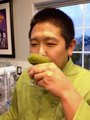 Chef Garrett Nishimori of San Miguel Produce tasting a Kale Margarita